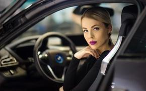 Картинка авто, девушка, макияж, Pure