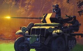 Картинка собой, арт, солдаты, машина, огонь, с откидными, с 20мм, стала, специальной, установленного, полного, задней, обеспечения, …