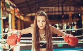 Обои взгляд, ринг, девушка, бокс, перчатки