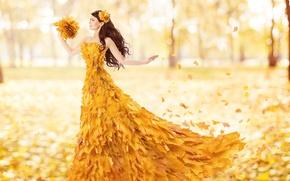 Картинка осень, листья, Девушки, боке