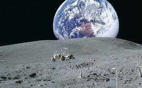 Картинка космос, земля, обои, луна, планета, NASA, лунный автомобиль, вид земли с луны