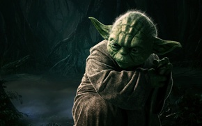 Картинка Sci-Fi, Fog, The, Green, Back, Master, Male, Darkness, StarWars, Elderly, Episode V, Yoda Dagobah, Star ...