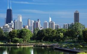 Картинка лето, небо, вода, мост, небоскребы, USA, америка, чикаго, Chicago