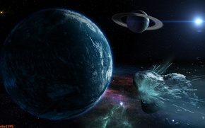 Картинка взрыв, метеор, астероид, метеорит, камета