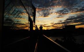 Картинка закат, мост, вечер