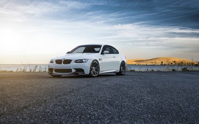 Картинка BMW, Car, Front, Vorsteiner, Color, White, Forged, E92, Wheels, Flow