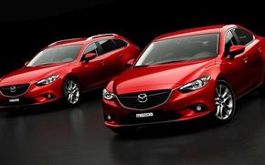Картинка Красный, Авто, Седан, Car, Mazda 6, Передок, Универсал