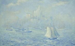 Картинка лодка, картина, Нью-Йорк, парус, морской пейзаж, Theodore Earl Butler, New York Harbor