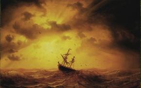 Картинка море, корабль, картина, Storm på havet, marcus larson, 1857