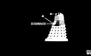 Картинка черно-белое, Doctor Who, Доктор Кто, Dalek, Далек, чб
