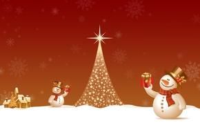 Картинка огни, елка, новый год, снеговик