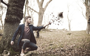 Картинка листья, птица, человек