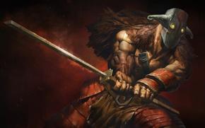 Картинка меч, арт, Yurnero, воин, маска, Dota 2, Juggernaut