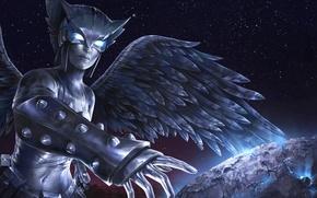 Картинка космос, камень, крылья, маска, dc comics, орлица