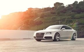 Обои Audi, холмы, ауди, серебристый, блик, quattro, silvery, Sportback, TFSI, 3.0