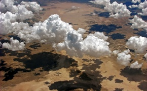 Картинка полет, природа, тени, clouds, облаков