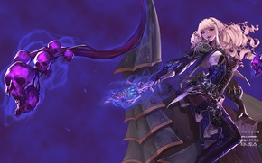 Картинка девушка, оружие, магия, аниме, арт, черепа, dungeon and fighter