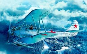 Картинка war, art, airplane, painting, WWII SOVIET AMBULANCE PLANE, U-2/PO-2 WITH PODS