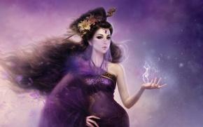 Картинка девушка, цветы, волосы, дракон, дым, лилии, арт, вуаль, заколка, ruoxing zhang