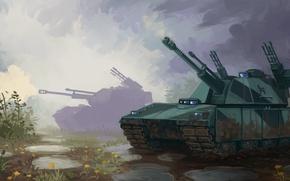 Картинка поле, грязь, арт, танк, пушка