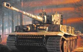 Картинка тигр, война, рисунок, танк