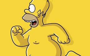 Обои желтый, бег, гомер, голый, симпсон