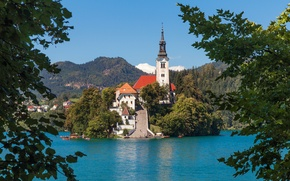 Картинка остров, Словения, Lake Bled, Slovenia, Бледское озеро, Блед, Assumption of Mary Pilgrimage Church, Bled, Церковь …