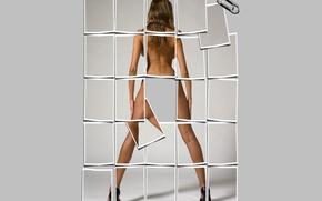 Обои спина, ножки, мозайка, скрепка