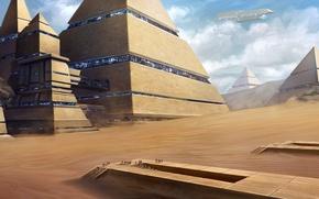 Картинка город, люди, пустыня, корабль, арт, пирамиды