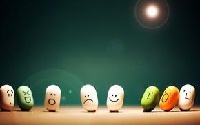 Картинка грусть, радость, эмоции, настроение, удивление, конфеты, леденцы, таблетки, смайлы, забавные, fun, funny