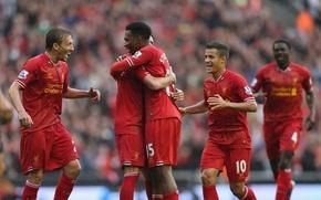 Картинка Football, Liverpool, Barclays Premier League, Goal, LFC, Lucas Leiva, Reds, Daniel Sturridge, Standard Chartered, Coutinho, …