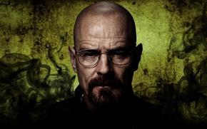 Картинка dark, actor, Breaking Bad, face, glasses, season, mustache, Bryan Cranston, male, teacher, Walter White, bald, …