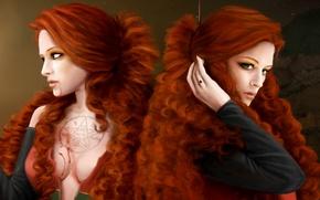 Обои взгляд, фантастика, девушки, волосы, рука, кольцо, арт, лица, рыжие, пентаграмма, зеленые глаза