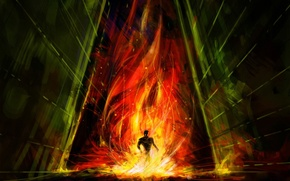 Обои зло, эскиз, Рисунок, огонь