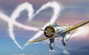 Обои Сердце, love, самолёт, День святого Валентина, plane, симулятор, MMO, Mac OS, War Thunder, Gaijin Entertainment, ...