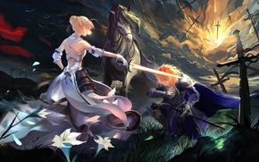 Картинка девушка, цветы, оружие, лошадь, меч, аниме, лепестки, воин, арт, ice, парень, saber, fate stay night, …