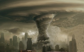 Обои город, смерч, разрушение, торнадо