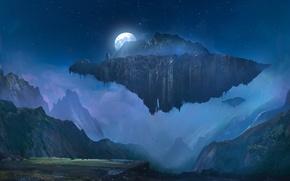 Обои горы, остров, летающий остров, art, луна, полнолуние, ночь, небо, звезды
