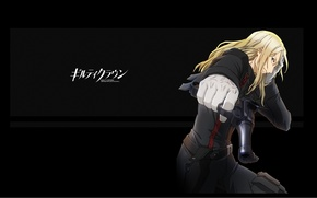 Картинка пистолет, перчатки, эмблема, art, кобура, guilty crown, корона грешника, gai tsutsugami, гробовщик, masashi koizuka