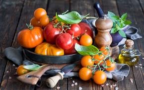 Картинка листья, масло, желтые, посуда, красные, овощи, помидоры