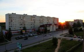 Картинка дорога, закат, дом, Улица