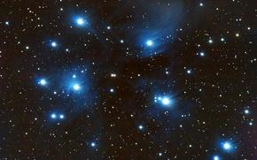 Обои космос, звезды, Плеяды, звёздное скопление, в созвездии Тельца, М45