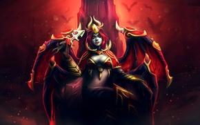 Картинка девушка, крылья, демон, арт, рога, кинжал, трон, Dota 2, Akasha, Queen of Pain