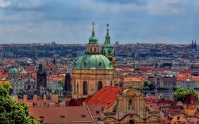 Картинка здания, Прага, Чехия, церковь, панорама, храм, Prague, Mala Strana, Czech republic, Lesser Town, Мала-Страна, St …