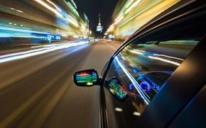 Картинка авто, город, огни, скорость