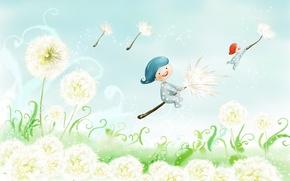 Картинка spring, children, dandelion