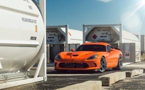 Картинка Dodge, Orange, Viper, Front, Time, Attack, ADV.1