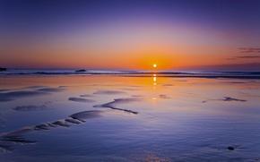 Картинка море, закат, сияние, диск