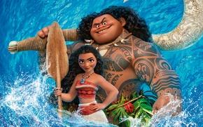 Обои абориген, Моана, Maui, Мауи, вода, Walt Disney Pictures, мультфильм, синева, Moana, весло, постер, девочка
