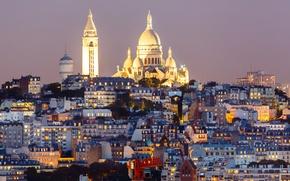 Картинка ночь, огни, Франция, Париж, дома, холм, Монмартр, базилика Сакре-Кёр
